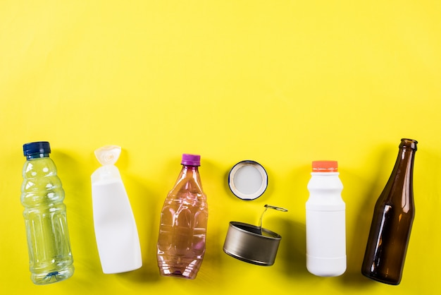 Different garbage materials for recycling, recycle, environment and eco concept Premium Photo