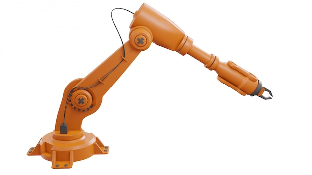 Different industrial robots isolated on white background 3d rendering white robotic arm with blank space on white background Premium Photo