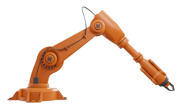 Different industrial robots isolated on white background 3d