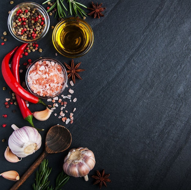 Different kind of spices in bowls Premium Photo