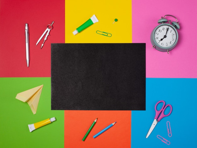 Different school stationery with copy space Premium Photo