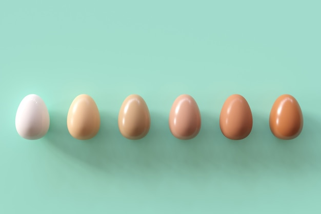 Different shades of eggs on green background. minimal easter idea. Premium Photo