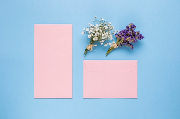 Different shapes pink wedding invitations Free Photo