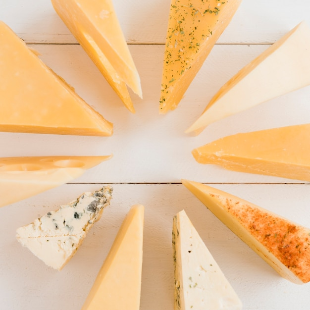 Different type of triangular cheese arranged in circular on white desk Free Photo