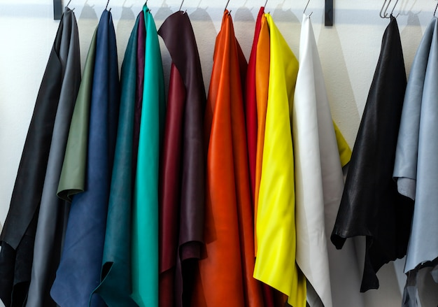 Different types and colors of leathers. Premium Photo