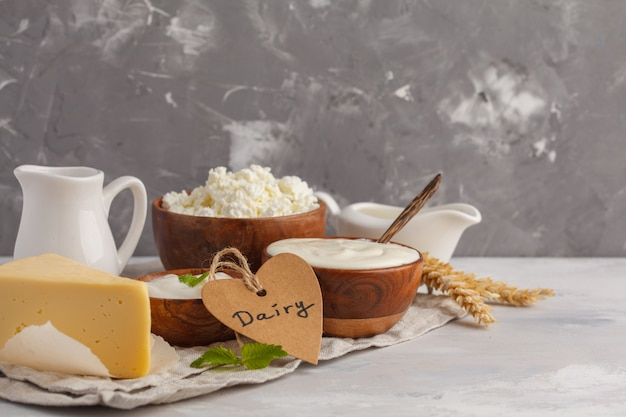 Different types of dairy products on white gray background, copy space. food background, healthy food concept Premium Photo