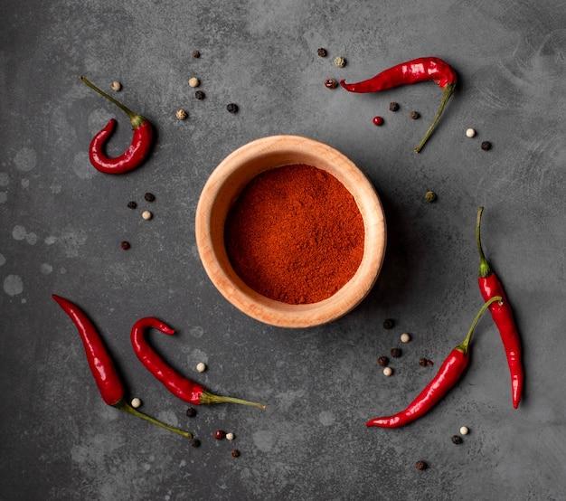 Different types of pepper on a dark background Premium Photo