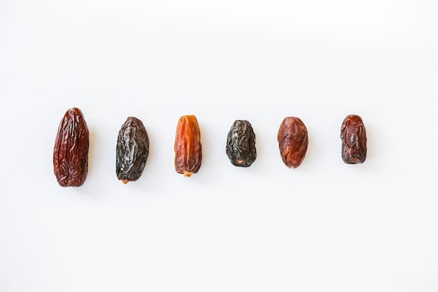 Different types on sizing and species of date palms isolated in a white background Premium Photo