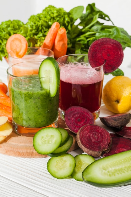 Different vegetable juices Free Photo