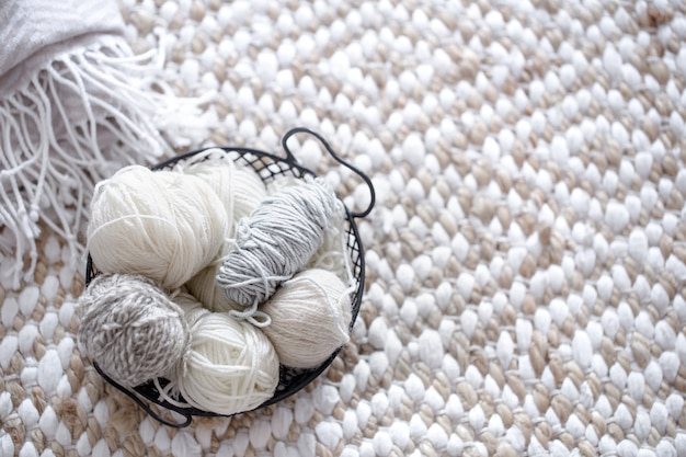 Different yarn for knitting in pastel colors. Free Photo