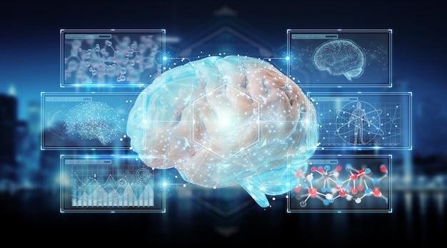 Digital 3d projection of a human brain Premium Photo