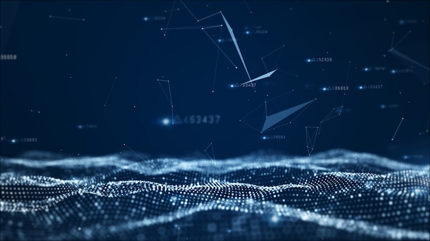 Digital abstract particles and network data background Premium Photo