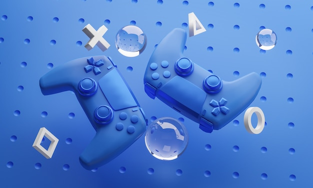 青いゲームパッド