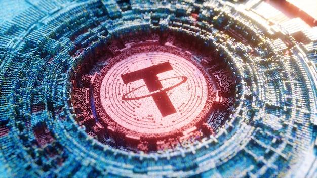 Символ логотипа tether цифрового искусства. криптовалюта футуристический 3d иллюстрации. Premium Фотографии