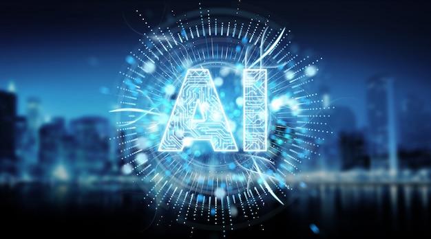 Digital artificial intelligence text hologram 3d rendering Premium Photo