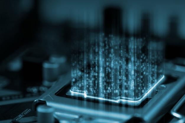 Digital binary data on microchip with glow circuit board Premium Photo