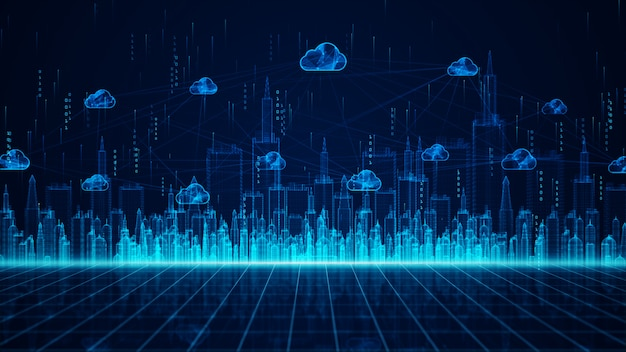 Digital city and cloud computing using artificial intelligence, 5g high-speed connection data analysis. digital data network connections and global communication background. Premium Photo