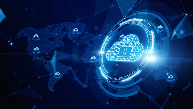 Digital cloud computing, cyber security, digital data network protection, future technology digital data network connection Premium Photo