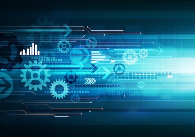 Digital conceptual business technology background arrows chip Premium Photo