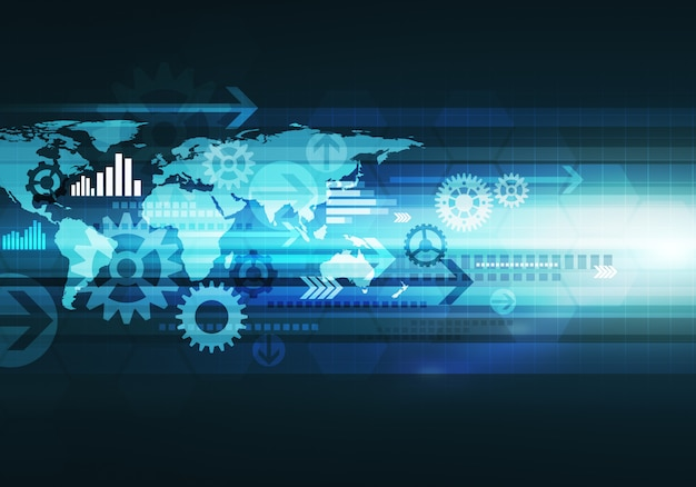 Digital conceptual gradiented image  business technology background with arrow and world map for corporate brand Premium Photo