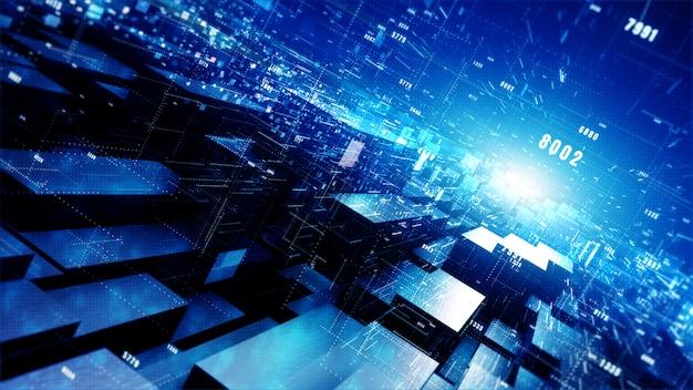 粒子とデジタルデータネットワーク接続のデジタルサイバー空間の幾何学的な背景。 Premium写真