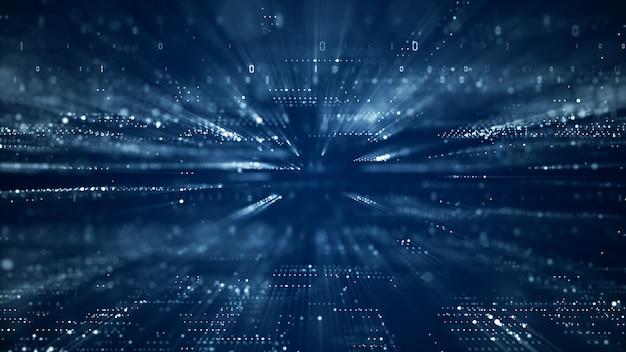 Цифровое киберпространство с частицами и концепции цифровых сетевых подключений данных. Premium Фотографии