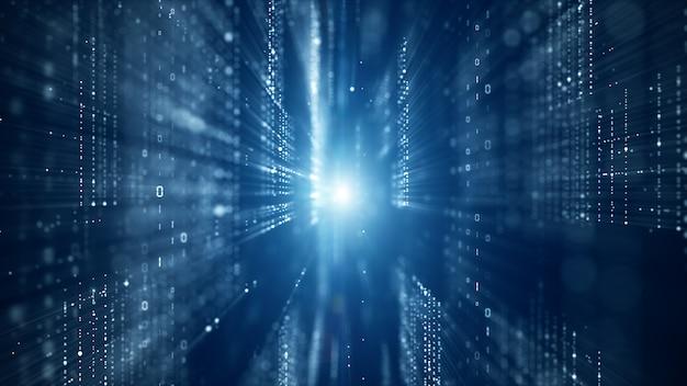Цифровое киберпространство с частицами и цифровыми сетями данных Premium Фотографии