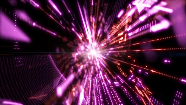 Цифровое киберпространство с частицами и технологиями цифровые сетевые соединения. геометрические абстрактные фоны Premium Фотографии