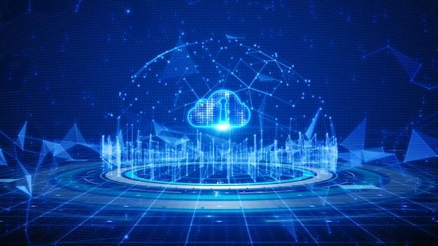 Цифровая сеть передачи данных, облачные вычисления и глобальные коммуникации Premium Фотографии