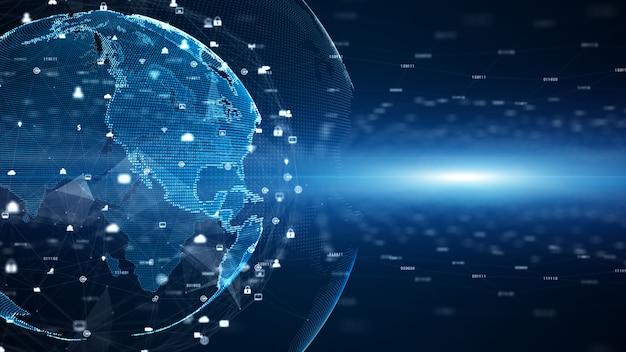 Цифровые сети передачи данных и глобальные коммуникации. 5g высокоскоростной анализ данных подключения Premium Фотографии