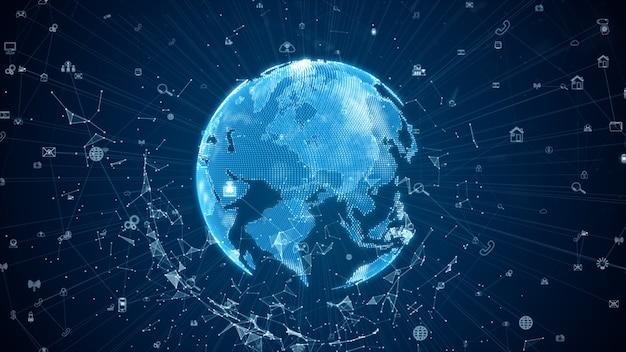 Цифровые сети передачи данных со значком и глобальной связью. 5g высокоскоростной анализ данных подключения Premium Фотографии