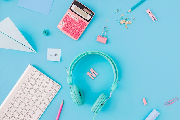 digital devices amidst stationery photo free download