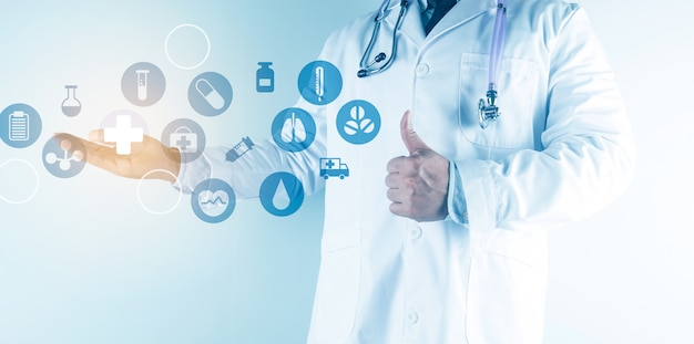 Digital healthcare and network connection on hologram modern virtual screen interface, medical technology and network concept. Premium Photo