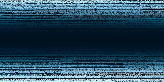 デジタル情報バイナリデータコードコンピュータ命令セット情報セキュリティ技術の条件3dイラストサイバーセキュリティの概念 Premium写真