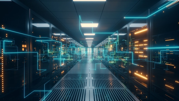 Digital information travels through fiber optic cables through the network and data servers behind g