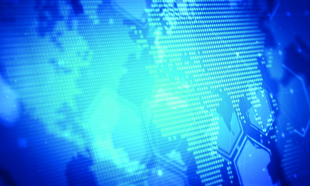 Digital marketing business background.world map dots concept Premium Photo