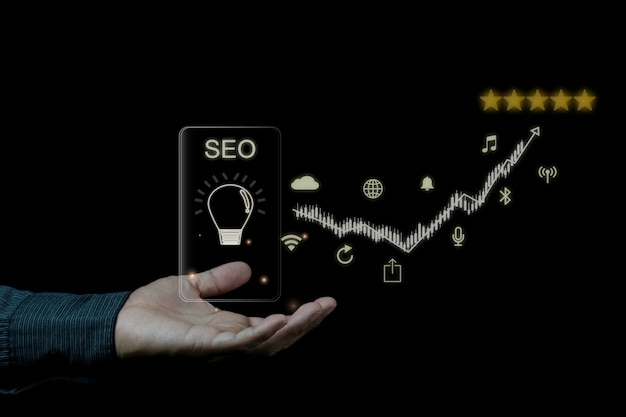 Digital marketing seo photo concept idea with special infographic content Premium Photo