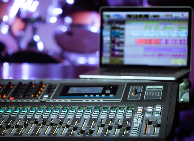 Digital mixer in a recording studio , with a computer for recording music. the concept of creativity and show business. space for text. Free Photo