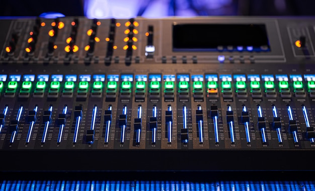 Digital mixer in a recording studio. work with sound. Free Photo
