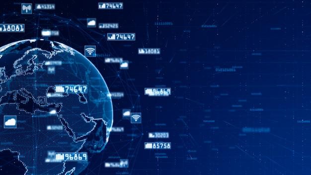 Digital network data and communication network . world original source from nasa Premium Photo