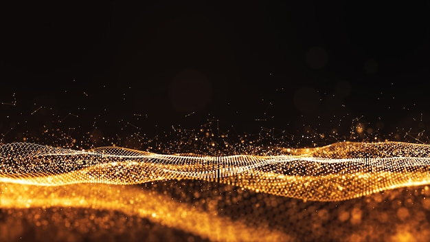 Digital particles gold color wave flow abstract background Premium Photo