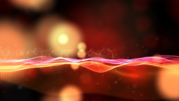 Digital particles wave flow with bokeh abstract background Premium Photo