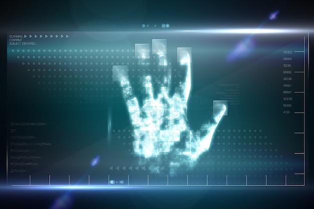 Digital Security Hand Print Scan Photo Premium Download