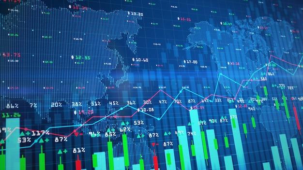 График цифрового фондового рынка или график торговли на форекс и график свечей, подходящий для финансовых вложений Premium Фотографии