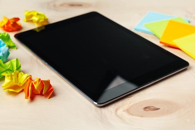 Digital tablet on office table Premium Photo