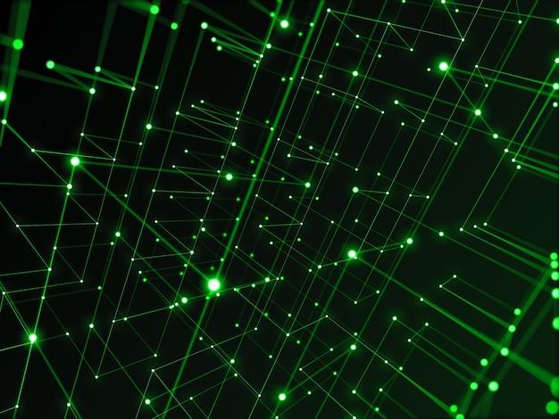 Сеть цифровых технологий, соединяющаяся с линией абстрактного фона, зеленой темой. Premium Фотографии