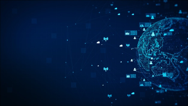Digital technology network data and communication concept abstract background. earth element furnished by nasa Premium Photo