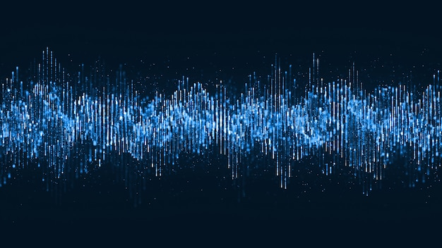 Digital wave particles music and small particles dance motion on wave for digital background. Premium Photo