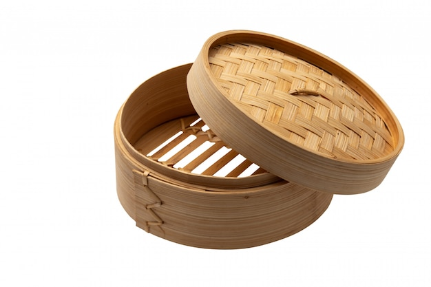 Dimsum container chinese japanese food  steam with clipping path on white Premium Photo