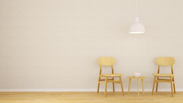 Dining area in coffee shop or restaurant - 3d rendering Premium Photo